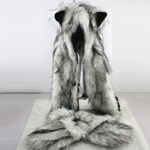 Women Fashion Wolf Ears Paws Faux Fur Eco-Friendly 3 In 1 Hat Scarf Mittens Winter Warm Cap Creative Christmas Gift Cosplay Party For Women Cosplay Accessories Halloween