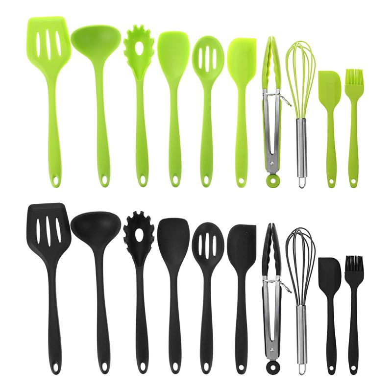 Silicone Kitchen Utensils 10 Piece Cooking Utensil Set Spatula, Ladle, Spaghetti Server, Slotted Turner. Cooking Tools