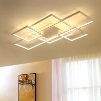 New Square frame led Chandelier For Livingroom Bedroom Home white or brown Modern Led Ceiling chandelier lighting Fixtures