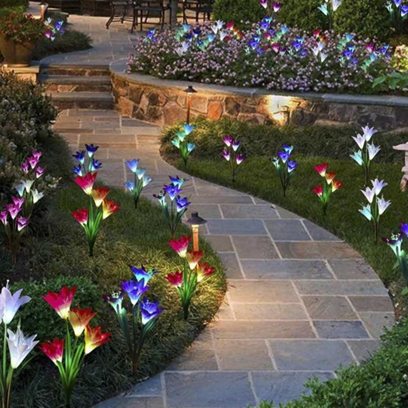 Luzes solares para decoração do jardim led solar lâmpada colorida 16 pçs flores lírio natal ao ar livre iluminação à prova dwaterproof água luz solar