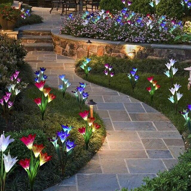 Güneş işıkları bahçe dekorasyon için LED güneş lambası renkli 16pcs zambak çiçekler noel dış aydınlatma su geçirmez güneş ışığı