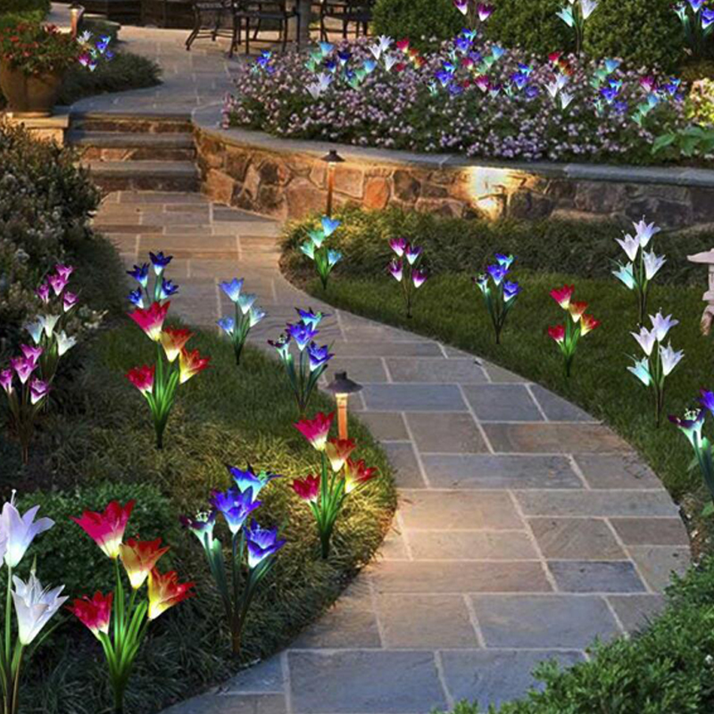 Solar 4 Lily Flower Lamp Outdoor Solar For Garden Light LED Outdoor Waterproof Sunlight Solar Led Light Outdoor Lawn Garden Lamp