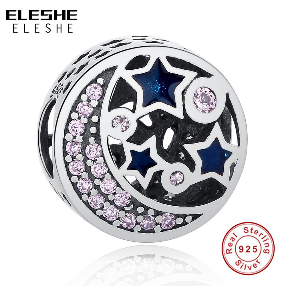 Real 925 Sterling Silver MOON & STARS Night Sky Blue CZ Crystal Bead Charms Fit Original ELESHE Bracelets DIY Jewelry Making