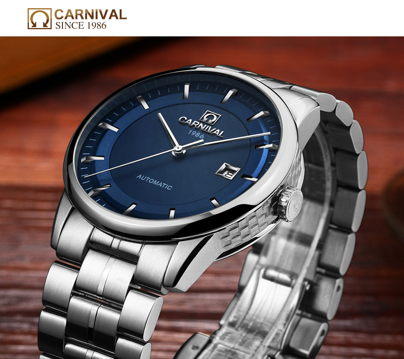 Carnaval relógio automático masculino negócios aço inoxidável