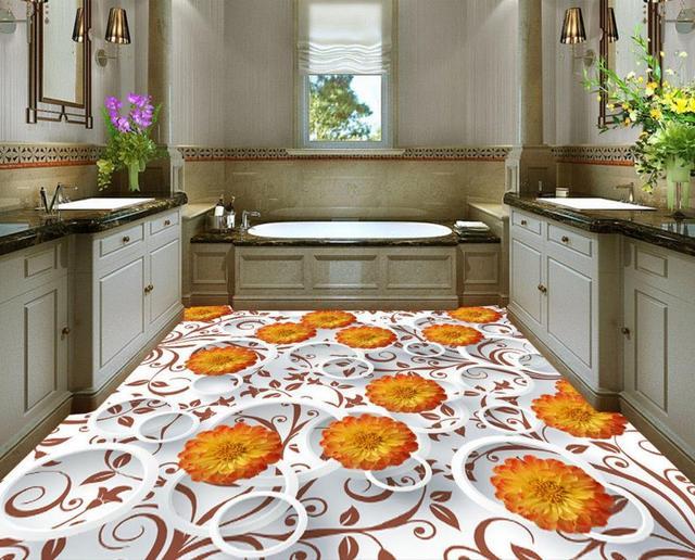 Carta Da Parati Adesiva Bagno : Astratta moderna crisantemo 3d pavimenti bagno carta da parati