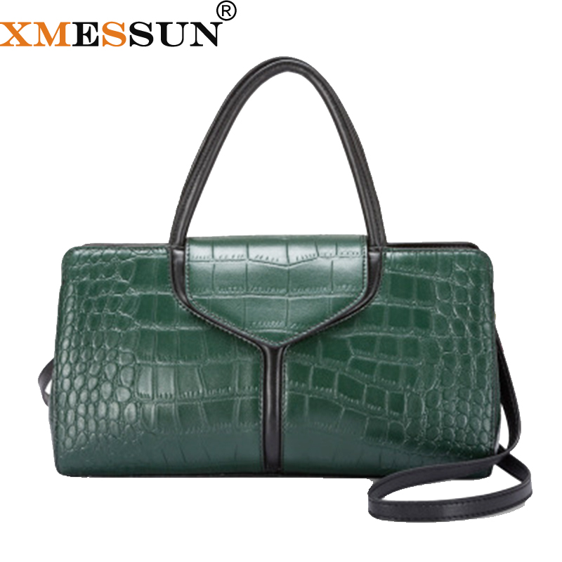 XMESSUN 100 Genuine Leather Crocodile Pattern Handbag 2019 New Fashion Snake Shoulder Messenger Bag Designer Free
