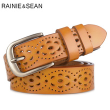 RAINIE SEAN Candy Color Belt for Jeans Women Pin Real Cow Leather Female Hollow Out Deco Orange Ladies Trouser