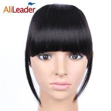 AliLeader Black Brown Blonde fałszywe frędzle klip w bangs przedłużania włosów z wysokiej temperatury włókien syntetycznych tanie tanio Tylko 1 sztuka Clip-in Kierownik w Czysty kolor Włókno wysokotemperaturowe Tępy grzywka