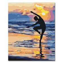 Girl Dancing On Beach Oil Painting By Numbers DIY Abstract Digital Picture Coloring By Numbers On Canvas Unique Gift Home Decor diy digital oil painting by numbers kits coloring landscape painting by numbers unique gift for living room home decor 40 50cm