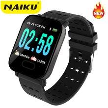 NAIKU A6 akıllı saat nabız monitörü spor fitness takip chazı Kan Basıncı Çağrı Hatırlatma Erkekler Izle iOS Android için Hediye