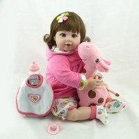 OCDAY 55cm Silicone Baby Reborn Doll With Giraffe Stuffed Plush Toy Lovely Imitation Doll Lifelike Girl Children Playmate New