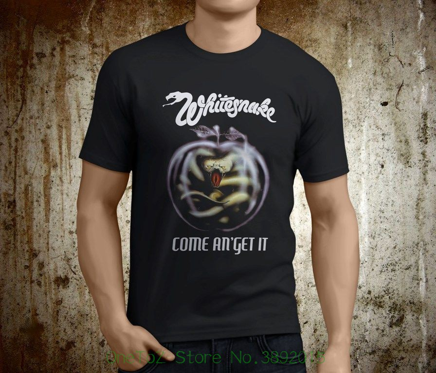 4aa12289d1daa7 T-Shirts WHITESNAKE COME AND GET IT 1981 Black T-shirt Men Shirt Rock Band  Tee Music
