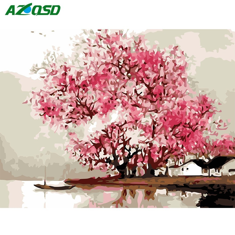 AZQSD Oil-Painting Drawing-By-Numbers Cherry-Tree Number-40x50cm-Picture On-Wall Home-Decor