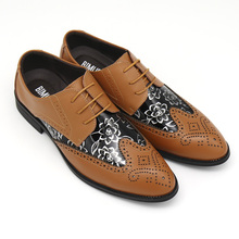 BIMUDUIYU Lace Up Designer Luxury Men Shoes Fashion PU Leather Dress Shoes Pointed Toe Bullock Oxfords Shoes Men Wedding Office