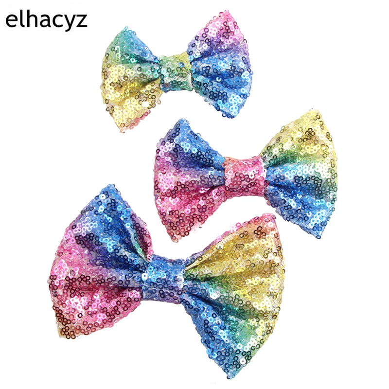 10pcs/lot 3/4/5/7 Rainbow Glitter Sequin Hair Bows Hair Clips 2018 NEW Messy Sequin Bows Kids Hairpins Hair Accessories