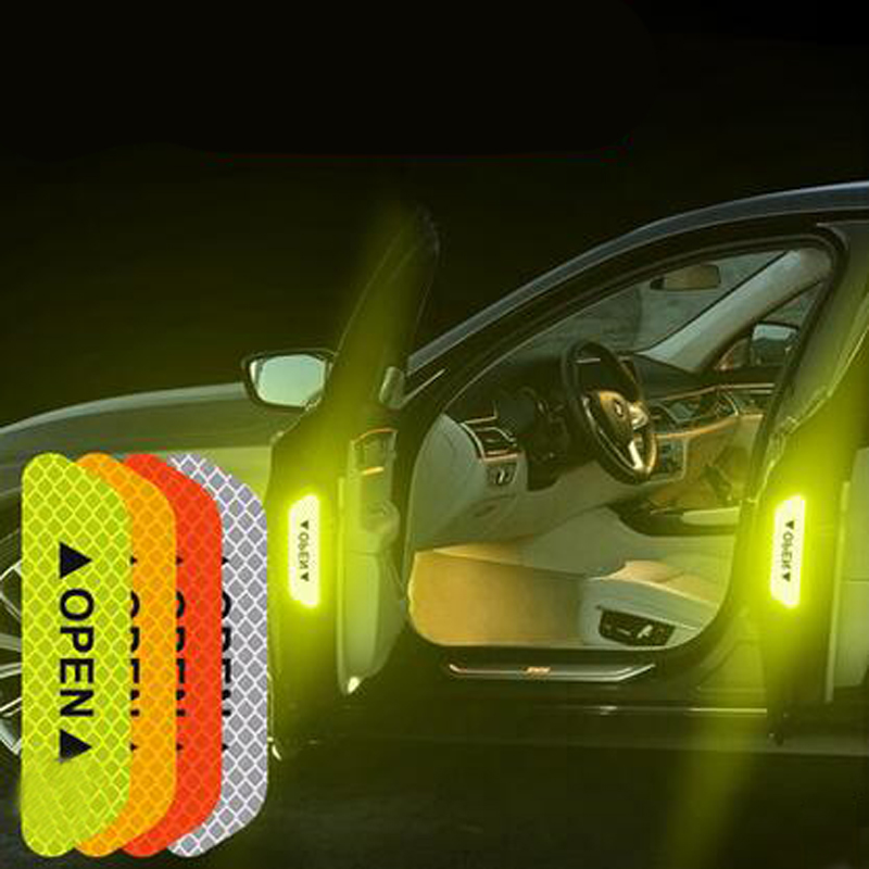 >4Pcs Warning Mark Reflective Tape Car Door Stickers For Ford <font><b>Focus</b></font> <font><b>2</b></font> <font><b>1</b></font> Fiesta Mondeo 4 3 Transit Fusion Kuga Ranger Mustang KA