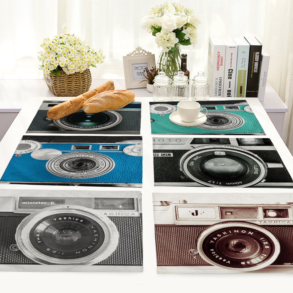 Fashion Camera Printing Cotton Linen Napkin Table Cloth Placemat Home Restaurant Wedding Napkin Washable Placemats MC0030