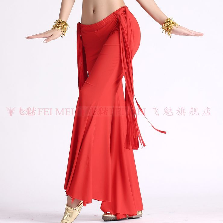 Belly Dance Dancing Wear Trousers Crystal Cotton Long Tassel Belly Dance Pants