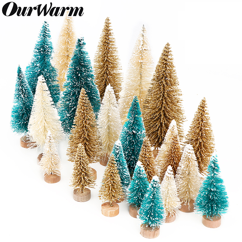 OurWarm 8pcs Small DIY Christmas Tree Fake Pine Tree Mini Sisal Bottle Brush Christmas Tree Santa Snow Frost Village House image