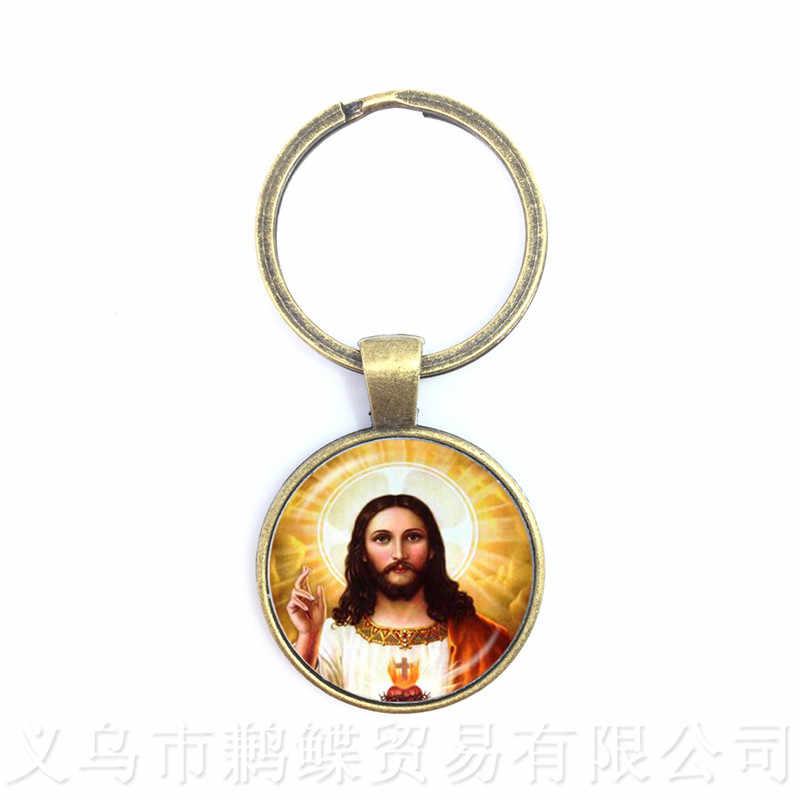 Sacred Heart of Jesus Mề Đay Keychain Phụ Nữ Người Đàn Ông Dây Đeo Chìa Khóa Bronze Plated Rey Chúa Giêsu Ảnh Nghệ Thuật Thủy Tinh Mề Đay Mặt Dây Chuyền đồ trang sức