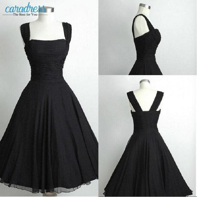 Vintage Black 1950s Prom Dresses Real Photos Cocktail Dresses
