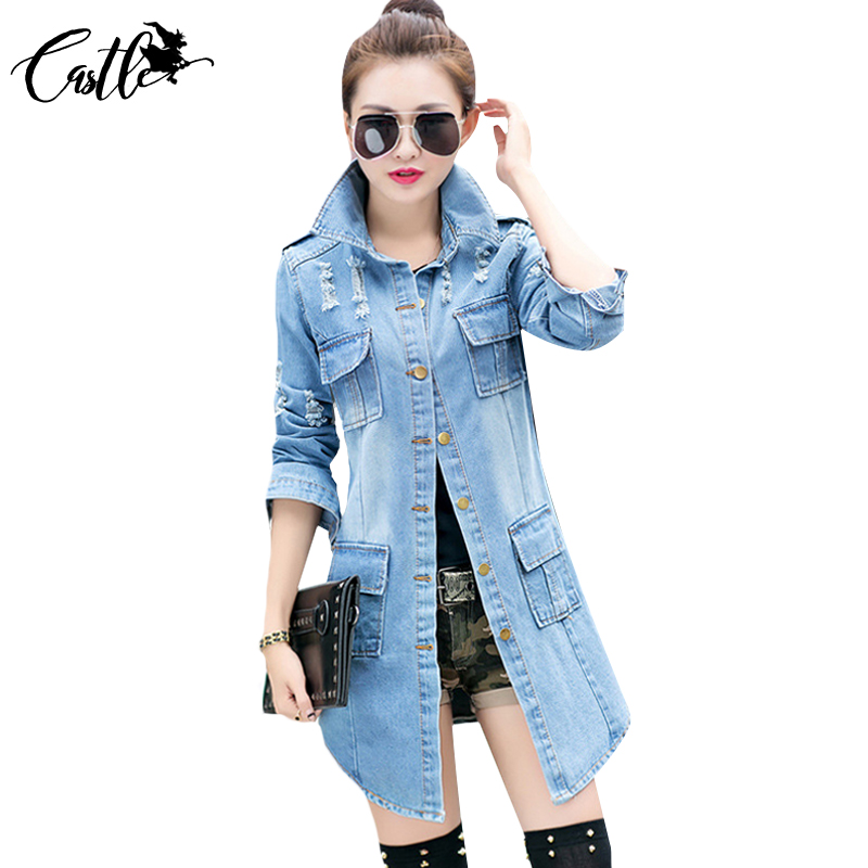 fba7c304b Fashion Women Jean Trench Casual Frayed Wash Denim Long Woman Jean Coat  Slim Hole Female Outwear Women Clothing Plus Size XL XXL