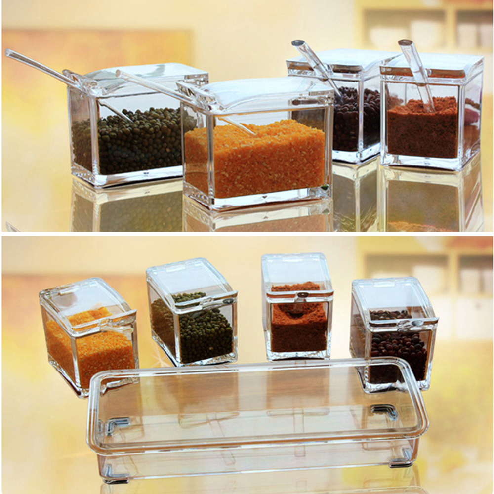 3//4Pcs Clear Seasoning Rack Spice Pots Box Storage Container With Lids And Spoo