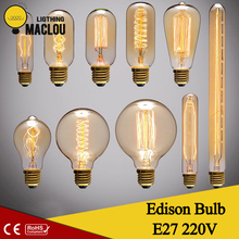 Edison Bulb 220V 40W E27 Indoor Decor Home Lighting Ampoule Vintage Lampada Retro Antique Edison Lamp Incandescent Filament Bulb