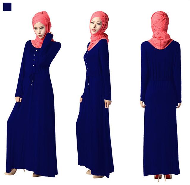 Muslim Women Long Sleeve Full Length Dress Solid color Kaftan Dress Arab Islamic Clothes Jibab Abaya