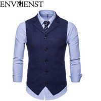 Envmenst New Double Breasted Suit Vest Men 2018 Brand Slim Fit Sleeveless Waistcoat Mens Casual Tweed Weeding Dress Vests