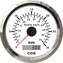 Vessel-Yacht Boat Gps Speedometer KUS 0-30knots-Speed 85mm New for with Antenna 0-55km/H