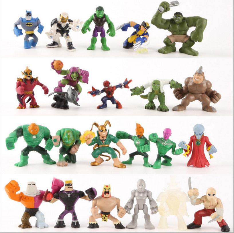 6-8cm Super Heroes Avengers Spiderman Batman Hulk Action Figure Movie Doll Toys Anime Christmas Toys for Children Figures Toys