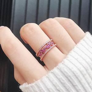 MENGJIQIAO 2018 New Korean Cubic Zirconia Love Heart Double Layer Open Rings For Women Delicate Fashion Micro Paved Finger Ring
