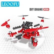LEOOFU mini bouwstenen gemonteerd transmissie rc helicopter quadcopter headless modus drone speelgoed nieuwe Jaar cadeau voor childre
