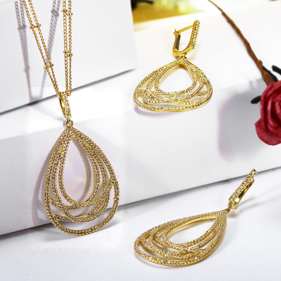 Nice Gift for parents Big Drop shape Pendant Jewelry set Exclusive design 2-row chains Dangle earrings Women Luxury Necklace set chic rhinestone african plate shape pendant necklace and earrings for women
