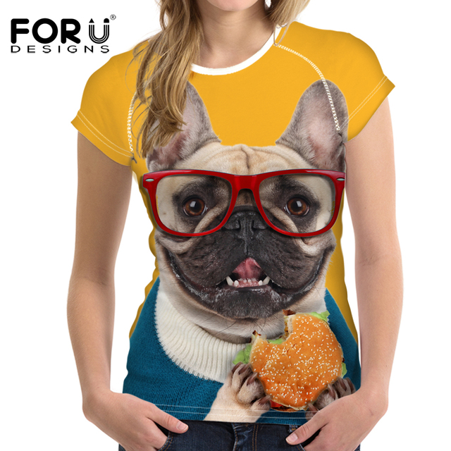 02ed79682d78 FORUDESIGNS 2017 Funny Cat Printing Women T Shirt 3D French Bulldog T-shirt  Novelty Short