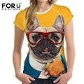 Forudesigns 2017 engraçado cat impressão camisa das mulheres t 3d francês T-shirt de Manga Curta Novidade Tee Pug Bulldog Impresso Cão Mau camisas