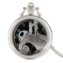 Кошмар перед рождественской тематикой серебряные женские карманные часы ожерелье цепь для мужчин и девочек полые Кварцевые Подвески модные детские подарки