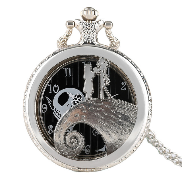 The Nightmare Before Christmas Theme Silver Women Pocket Watch Necklace Chain Me