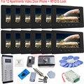 RFID Card E-Lock 7 Inch Color TFT Wired Door Phone Unlock Video Door Phone Doorbell Intercom  For 12 Apartments In Stock!