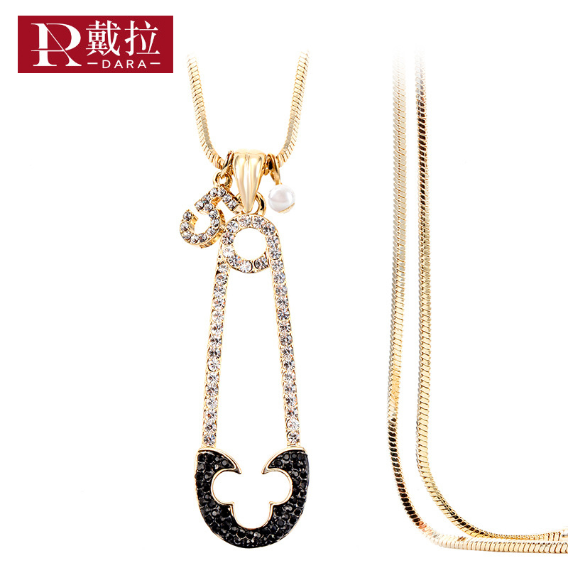 DARA New Women Elegant Long Necklace Pendant Pearls Crystal Necklace Swearter Link Chain Wedding Party Fashion Jewelry