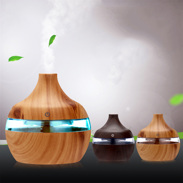 Electric Humidifier Essential Aroma Oil Diffuser Ultrasonic Wood Grain Air Humidifier USB Mini Mist Maker LED Light