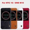 Nillkin genuine carteira de couro case capa para htc 10/one m10 funda de telefone bolsas cases para htc 10 lifestyle filme pele + tela