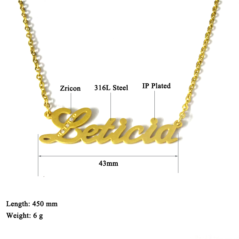 """FairLadyHood Personalize Custom Name Necklace Beauty Dainty Gold Choker Necklace Letter Necklaces """"Leticia"""" Pendants Necklace"""