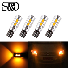 T10 W5W LED Bulbs 10SMD CANBUS OBC Error Free LED Lamp 501 dash Car LED bulbs interior Auto Lights Source parking 12V Amber