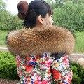 Rusia Invierno 100% Real Natural de Piel De Mapache Collar Para Mujer bufandas Abrigo Suéter de Cuello Bufandas de Lujo Cuello de piel de Mapache Cap LZ21