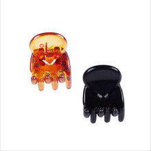 1MM*10MM Wholesale quality PS plastic top hair claws  mini fringe clips bright black color heart design clamp 12pcs/lot