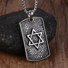 Mprainbow Men Star of David Hexagram Metals Casting Necklace 316L Stainless Steel Dog Tag Pendant With Chain Father's Day Git(China)