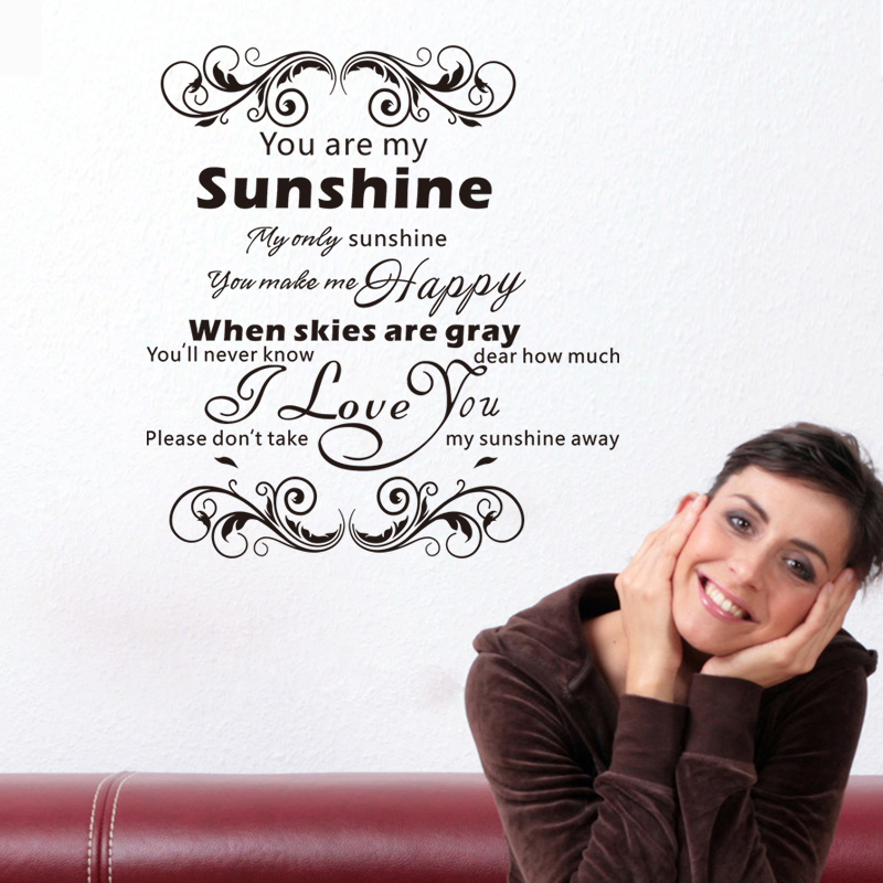 You Are My Sunshine Love Quotes Vinyl Wall Stickers For Bedroom Indoor Art Decor Diy Removeable Decals Black In From Home Garden On