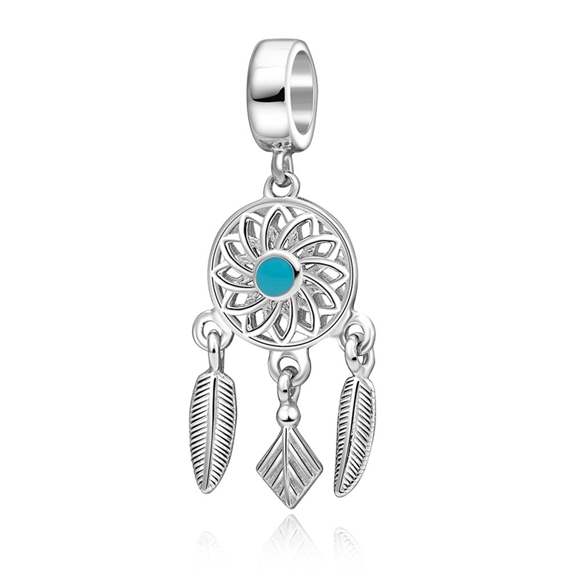 ChaWin 925 Sterling Silver Dreamcatcher Charm Bead with Enamel fits Pandora Charms bracelets & Necklaces